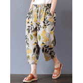Vintage Women Floral Print Elastic Waist Pants with Pockets