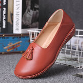 LOSTISY Women Tassel Solid Color Casual Casal Comfy Flats