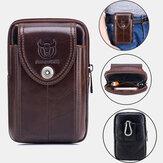 Bullcaptain sac de téléphone en cuir véritable sac de taille sac d'affaires pour hommes