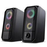 Golden Field M1 Altoparlante per computer cablato 10W Stereo Bass RGB Luminoso USB 3.5mm Altoparlante multimediale per soundbar desktop