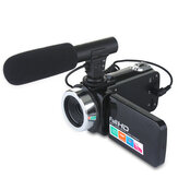 DC888 24MP HD Videocámara 18x Zoom digital Video Cámara para Youtube Live Vlog Night Vision 3 Inch LCD Pantalla táctil Cámara con Micrófono