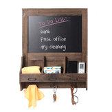 Wood Chalkboard Blackboard Wall Memo Message Note Drawing Board Storage Chalk Holder with 3 Hooks