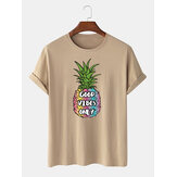 Mens 100% Cotton Pineapple Printed Round Neck Casual Short Sleeve T-Shirts