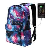 Outdoor-NachtlichtRucksackUSBOxfordSchuleTasche Umhängetasche Wasserdichte Handtasche