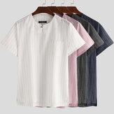 INCERUN Verano de manga corta de lino T Camisa Tops casuales a rayas Henley Camisas