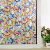 幾何学模様つや消しウィンドウフィルムPVCガラスステッカープライバシーの家の装飾