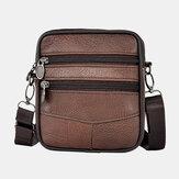 Men Genuine Leather Large Capacity Business Multi-carry Crossbody Bag