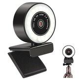 Bakeey K2 500W Pixel 2K HD USB2.0 Kamera internetowa Konferencja Live Auto Focus Ręczne ściemnianie Wielostopniowe upiększające światło wypełniające Kamera komputerowa Macbook Wbudowany mikrofon z redukcją szumów