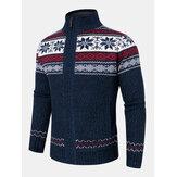 Geometrische Grafik für Herren Gestrickte, mit Fleece gefütterte, warme Pullover-Strickjacken