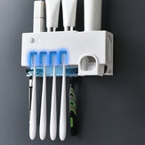 3 in 1 Automatic Toothpaste Dispenser UV Toothbrush Sterilizer USB Charged Wall Mount Toothbrush Holder Rack