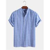 Camisas masculinas casuais 100% algodão respirável com colarinho
