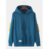 Heren Simple Side Patchwork Katoenen Casual hoodies met trekkoord en lange mouwen
