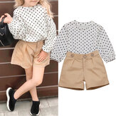 Girls Sets Polka Dot Long Sleeve Tops With Short Pants Kids Suit