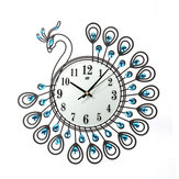 37cm European Style Peacock Shape Luxury Digital Metal Wall Clock