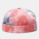 Men Dyed Lattice Pattern Fashion Stylish Brimless Hat Skull Hat