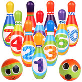 12PCS Cute Mini Bowling PU Soft Indoor Sport Play Games Safe Foam Kids Bowling Children Indoor Sport Family Funny Game Toy Gift