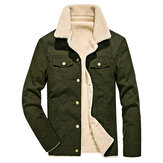 Winter Fleece Lining Thick Warm Lapel Single Breasted Jacket