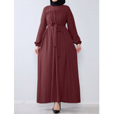 Women Casual Solid Color O-Neck Lantern Sleeve Plus Size Pleated Dress With Belt