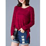 Women Solid Knit Contrast Tops Long Sleeve Autumn T-shirt