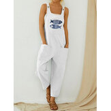 Cartoon Fish Print Sleeveless Loose Casual Pocket Jumpsuits For Women