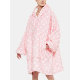 Women Flannel Polka Dot Fleece Lined Warm Oversized Blanket Hoodie With Front Pocket