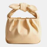 Women Bow Pouch Solid Casual Handbag Shoulder Bag