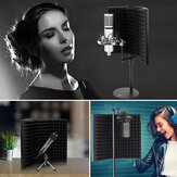Foldable Microphone Acoustic Isolation Shield Acoustic Foams Studio Three-door Noise Enclosure Panel Filter