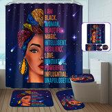 Африканская женщина Водонепроницаемы Нескользящая занавеска для душа Ванная комната Коврик для унитаза