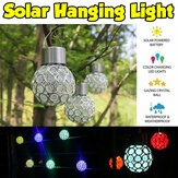 Solar Powered Hanging Crystal Ball Night Light Color Changing Waterproof Lamp Garden Lighting Decor