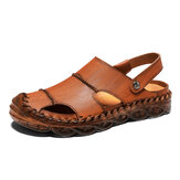 Men Microfiber Leather Two-ways Wearing Slip Resistant Sandals