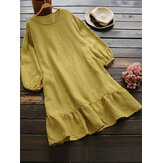 Casual Women Cotton Solid Color Long Sleeve Round Neck Side Pockets Dress