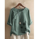 Flower Butterfly Print Round Neck Long Sleeve Button T-shirts For Women
