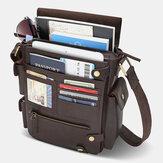 E Ekphero Men PU Leather Vintage Business Multifunction Multi-card Slots Multi-pockets Crossbody Bag Shoulder Bag