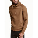 Mens Solid High Drawstring Neck Kangaroo Pocket Pullover Sweatshirts