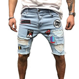 Fashion Mens Ripped Short Jeans Summer 98% Cotton Shorts Breathable Denim Shorts Male