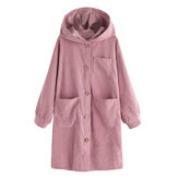 Women Long Sleeve Hooded Trench Corduroy Coats