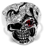 Halloween Fashion Jewelry Stainless Steel Caveira Head Zircon Ring for Men