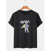 100% Cotton Astronaut Print Short Sleeve Round Neck T-Shirts