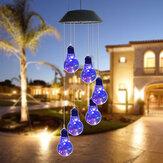 LED Light Solar Light Wind Chime Color Changing Garden Copper Bulb