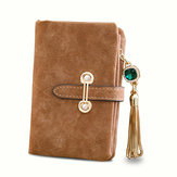 Women Nubuck Leather Tassel Lange Portemonnee Rits Riem Purse Card Holder Coin Bags