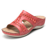 Lostisy  Embroidery Hollow Out Casual Comfy Wedge Sandals