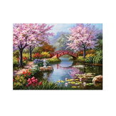 DIY 5D Diamond Painting Small Bridge Flowing Water Sakura Scenery Handmade Craft Cross Stitch Embroidery Home Wall Decorations