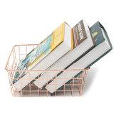 Design Household Rose Gold Baskets Copper Wire Storage Bins Steel Home Organization Modern Decor