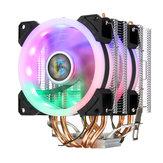 4Pin Dual Fans 4-Heatpipes Colorfule Backlit CPU Koelventilator Koeler Koellichaam Voor Intel AMD
