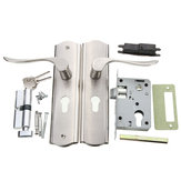 Polished Door Handle Front Back Lever Lock Cylinder Dual Latch with Keys