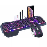 K618 104 Keys USB Wired Multimedia RGB Backlit Gaming Keyboard and 2400DPI LED Gaming Mouse Set