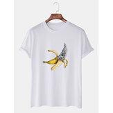 Mens grappige cartoon banaan afgedrukt casual losse T-shirts met korte mouwen