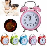 Classic Silent Double Bell Alarm Clock Concise Quartz Movement Bedside Night Light Home Decor