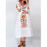 Ethnic Women V-neck Long Sleeve Floral Print Pleated Dress
