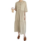 Women Casual Solid Color Loose Round Neck Half Sleeve Dress